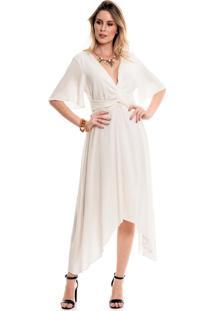 Vestido Bisô Midi Liso Off White
