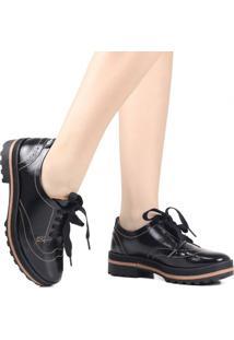 Sapato Oxford Dakota Plataforma Tratorado Preto