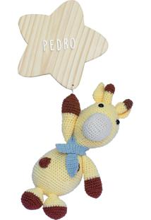 Enfeite Porta Maternidade Estrela Girafa Girafinha Nome Bebê Potinho De Mel