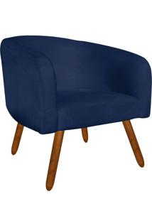 Poltrona Decorativa Stella Suede Azul Marinho Pés Palito - D'Rossi