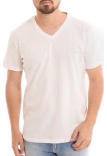 Camiseta Osmoze Diférenciada Gola V - Masculino-Branco