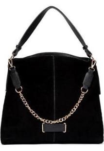 Bolsa Nice Bag Handbag Camurça Alça Corrente Feminina - Feminino-Preto