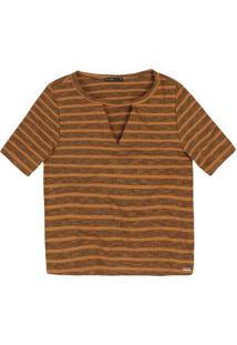Blusa Listrada Em Malha Com Decote Diferenciado