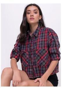 Camisa Cropped Xadrez