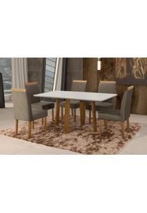 Conjunto De Mesa De Jantar Com 6 Cadeiras E Tampo De Madeira Maciça Espanha Suede Cinza E Off White