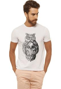 Camiseta Joss - Caveira Coruja - Masculina - Masculino-Branco