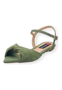 Sandália Rasteira Love Shoes Bico Folha Nó Torcido Verde Militar