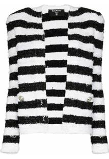 Balmain Jaqueta De Tweed Com Listras - Preto