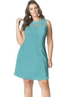 Vestido Curto Plus Size Crepe Sem Mangas Renda Verde