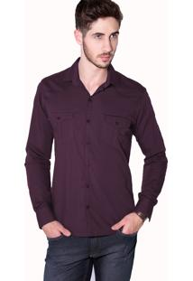Camisa Tony Menswear Casual Slim Bordô
