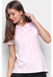 Camisa Polo Tommy Hilfiger Core Heritage Feminina - Feminino-Rosa