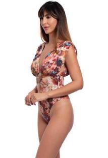 Maiô Body Estampado Decote Frontal Costa Fio Duplo Casual - Feminino