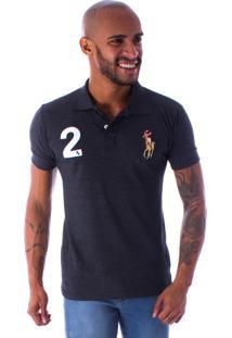 Camiseta Polo Rockstar 2 Cavaleiro Mescla Escuro Cinza