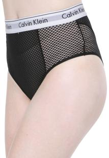 Calcinha Calvin Klein Underwear Hot Pant Mesh Modern Preta