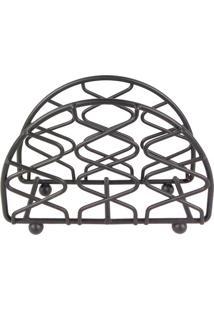 Porta Guardanapo Metal Preto 13X9Cm - 30179