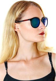 Óculos De Sol Titania Preto Fosco Com Detalhe Prata