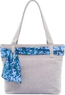 Bolsa De Praia Laço - Feminino-Azul