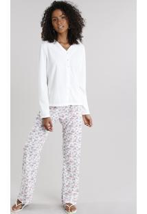 Pijama Feminino Com Estampa Floral Manga Longa Com Botões Off White