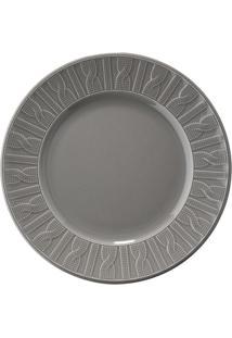 Prato De Sobremesa Em Cerâmica 22Cm Cinza