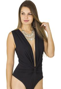 Body Dress Code Moda Decote Preto - Preto - Feminino - Viscose - Dafiti