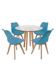 Conjunto Mesa De Jantar Em Vidro 90Cm Com Base Vértice + 4 Cadeiras Leda - Turquesa