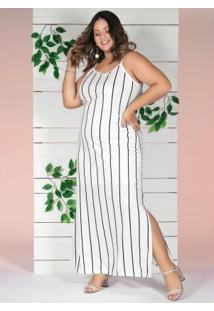 Vestido Longo Listrado Com Fendas Plus Size