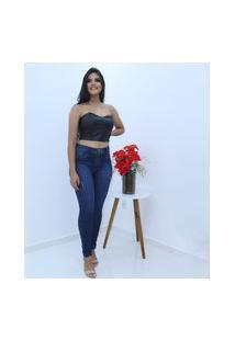 Calça Jeans Compozer Feminina Original Cintura Alta Modela Azul Escuro
