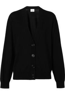 Burberry Cardigan Com Cotoveleira - Preto