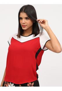 Blusa Texturizada Com Recortes - Vermelha & Branca- Miliore
