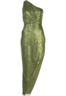 Michelle Mason Vestido Assimétrico Com Paetês - Verde
