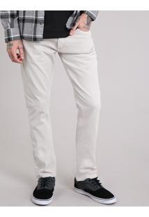 Calça Masculina Slim Em Algodão + Sustentável Kaki