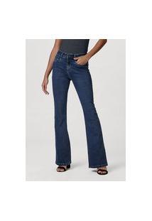Calça Jeans Feminina Modelagem Flare Com Elastano