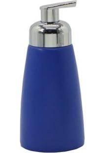 Porta Sabonete Líquido De Bancada Em Resina Azul Escuro Soft Blue Coisas E Coisinhas