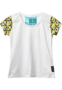 Camiseta Baby Look Feminina Algodão Estampa Casual Estilo - Feminino-Branco+Dourado