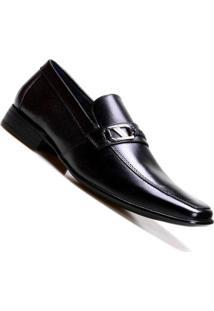 Sapato Social Masculino Calvest Com Trança Na Pala Em Couro Preto - Masculino-Preto