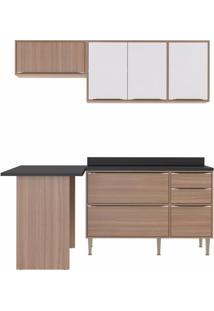 Cozinha Completa 5 Peças 6 Portas Calábria Multimóveis Nogueira/Branco Texturizado