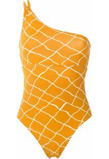 Esc Maiô Ombro Único Estampado - Amarelo
