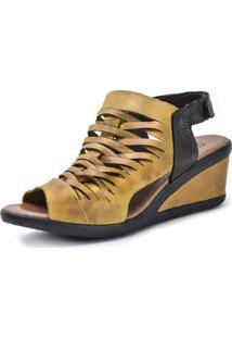 Sandália Scarpan Calçados Finos Em Couro Amarelo - Kanui