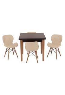 Conjunto Mesa De Jantar Luiza 80Cm Preta Com 4 Cadeiras Slim - Nude