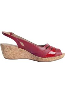 Sandália Em Couro Anabela - Feminino-Vermelho
