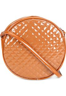Bolsa Dergham Mini Bag Transversal Redonda Feminina - Feminino-Caramelo