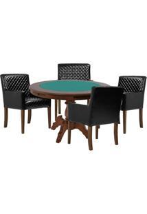 Mesa De Jogos Carteado Redonda Montreal Tampo Reversível Imbuia Com 4 Cadeiras Liverpool Corino Preto Matelassê - Gran Belo