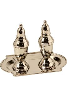 Porta-Temperos De Metal Decorativo Salt And Pepper