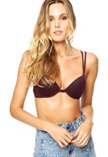Sutiã Calvin Klein Underwear Meia-Taça Bojo Renda Larga Roxo