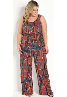 Macacão Pantalona Arabescos Vermelho Plus Size