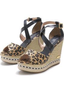 Sandália Sb Shoes Anabela Ref.3205 Onça/Preto - Kanui