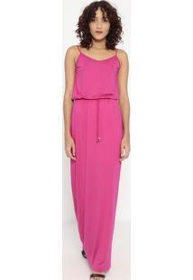 Vestido Longo Liso Com Elástico- Pink- Sommersommer
