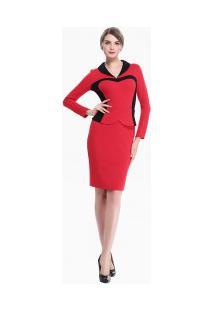 Vestido Lápis Elegante Manga Longa - Vermelho