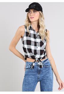 Camisa Feminina Estampada Xadrez Com Ilhós E Amarração Sem Mangas Preta