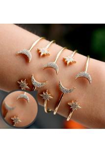 Bracelete Estrela E Lua Com Zircônias Brancas Folheado A Ouro